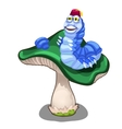 Cheerful blue worm character on green mushroom vector image