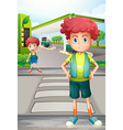 Two boys near the gasoline station vector image vector image