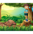 A smiling boy above a stump of a tree vector image