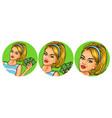 set of  womens pop art round vector image