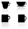 silhouettes of tea cups vector image