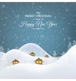 Christmas mountain village huts trees landscape vector image