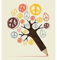 Peace icon tree pencil concept vector image