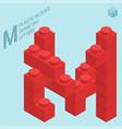 plastic blocs e letter m vector image