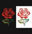 red rose logo emblem on black and white background vector image