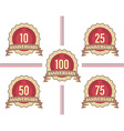Set of labels for major anniversaries vector image