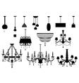 Sets of silhouette Chandelier and lamp vector image