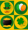 st patricks day set of icons green hat and vector image