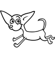 running chihuahua cartoon for coloring vector image vector image
