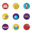 Event service set icons in flat style Big vector image