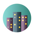 Urban city flat circle icon vector image
