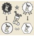 christmas sock presents gifts vintage symbol vector image