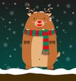 cute fat big reindeer Rudolf stand vector image