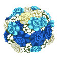delicate bouquet of blue and white flowers vector image