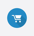 shopping cart Flat Blue Simple Icon with long vector image