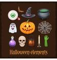 Happy Halloween elements on dark background vector image
