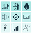 set of 9 executive icons includes solution vector image