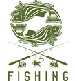 vintage fishing design template with trout vector image
