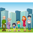A family with the grandparents in front of the vector image vector image
