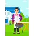Man preparing barbecue vector image