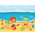 Mother and kid on the beach vector image