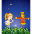 A young girl beside the scarecrow vector image