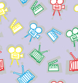 seamless movie icons vector image
