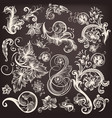 set of swirl flourishes vector image