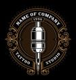 vintage tattoo studio emblem 1 for dark background vector image
