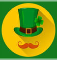 patricks hat green hat with four leaf clover and vector image