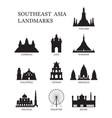 asean southeast asia landmark silhouette set vector image