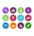 Networking circle icons on white background vector image