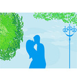 Couple kissing at sunset on the park background vector image