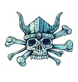 Skull with horns and crossed vector image
