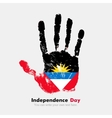 Handprint with the Flag of Antigua and Barbuda in vector image