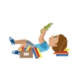 Boy Laying On The Back Reding vector image