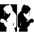 Silhouettes of Mother and Child vector image vector image