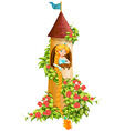 Princess sitting in castle tower vector image