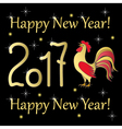 red rooster gold year 2017 on black vector image