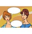 Two girlfriends retro women pop art vector image