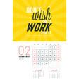 wall calendar template for february 2018 design vector image