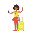 woman standing with travel suitcase colorful vector image