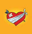 wounded love red heart with cupid arrow vector image