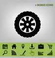 road tire sign  black icon at gray vector image