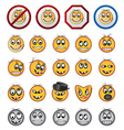 different kinds of smiling faces icons vector image