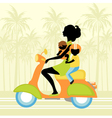 Young mother scootering with two kids vector image vector image
