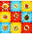 Set of versus letters fight backdrops in pop art vector image