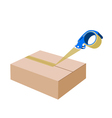 Adhesive Tape Dispenser Closing A Cardboard Box vector image