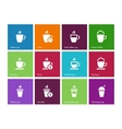 Set coffee cups icons on color background vector image