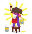 girl draws sun standing on chair vector image